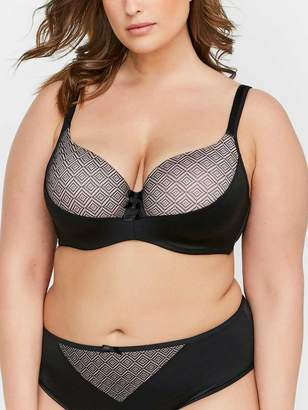 Contour Flirt Satin Microfiber Bra with Diamond Mesh, Sizes G & H - Deesse Collection