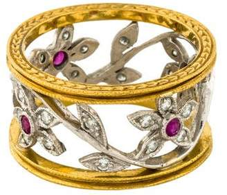 Cathy Waterman Platinum Diamond & Ruby Flower Band