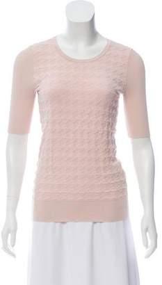 Paule Ka Short Sleeve Scoop Neck Sweater