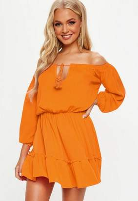 Missguided Orange Bardot Tassel Skater Dress