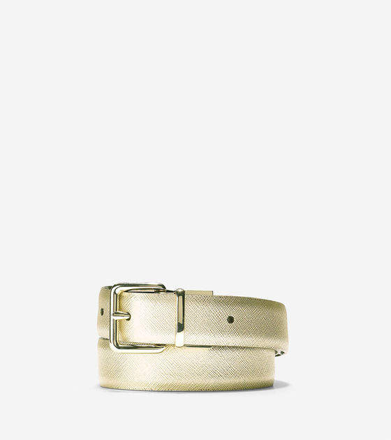 Cole Haan  Reversible Saffiano/Patent Leather Belt