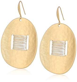 Robert Lee Morris Women's Bound to Basics Two Tone Wire Wrap Disc Earrings