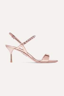 Miu Miu Crystal-embellished Metallic Patent-leather Slingback Sandals