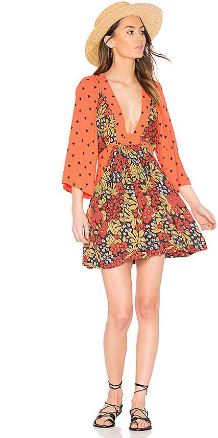 Free People Talulla Printed Mini Dress in Orange