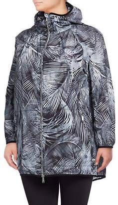 Calvin Klein Plus Palm Print Packable Hooded Jacket