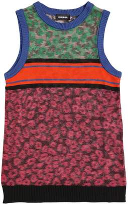 Diesel Leopard Print Viscose Knit Tank Top