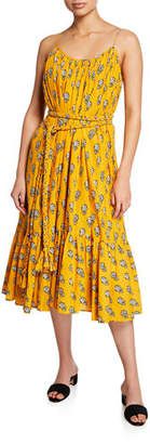 Rhode Resort Lea Sleeveless Belted Floral Cotton Dress