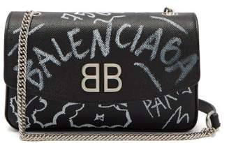 Balenciaga Bb Round Graffiti Bag - Womens - Black White