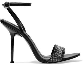 Alexander Wang Jane Crystal Logo-embellished Leather Sandals - Black