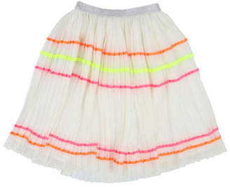 Billieblush Accordion-Pleated Long Tulle Skirt w/ Rainbow Taping, Size 4-12