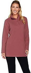 Denim & Co. Pullover Button Placket FleeceTunic w/Pockets