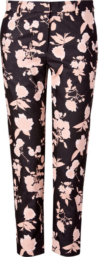Suno Black/Blush Floral Cropped Pants
