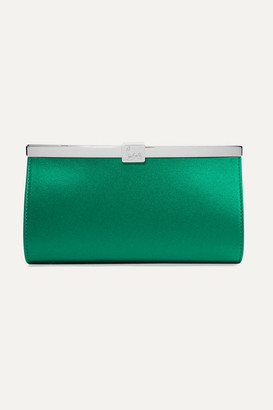 Christian Louboutin Palmette Embellished Satin Clutch - Green