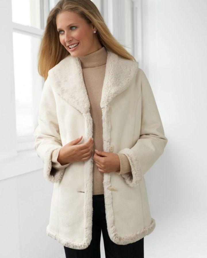 Jones New York Coat, Faux Shearling Shawl Collar
