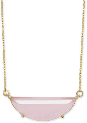 "Kate Spade Gold-Tone Stone Half-Circle Pendant Necklace, 16"" + 3"" extender"