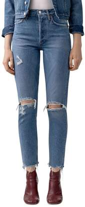 A Gold E AGOLDE Jamie High-Rise Distressed Skinny Jeans in Arrival