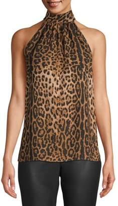 Scoop Printed Halter Neck Top Leopard Print Women's