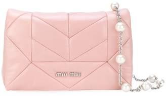 Miu Miu mini pink quilted leather pearl strap bag