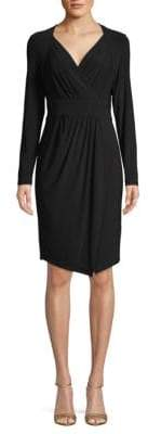 Donna Karan Long-Sleeve Faux-Wrap Dress