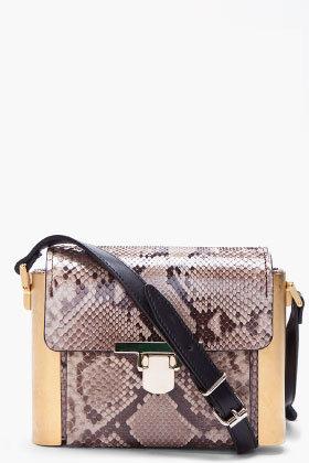 LANVIN Taupe Python Skin Camera Bag