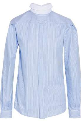 R 13 Backwards Button Up Striped Cotton Oxford Shirt