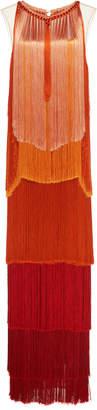 Alberta Ferretti Shaded Chiffon Fringe Maxi Dress
