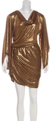 Halston Metallic Long Sleeve Dress