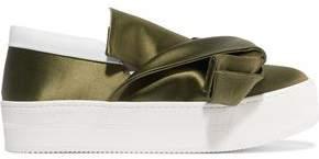 N°21 N° 21 Knotted Satin Slip-On Sneakers