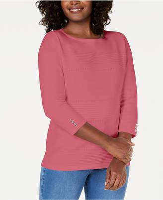 Karen Scott Petite Cotton Pointelle Sweater