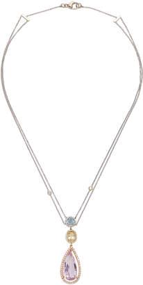 Renee Lewis 18K Gold Aquamarine Citrine Topaz and Diamond Necklace
