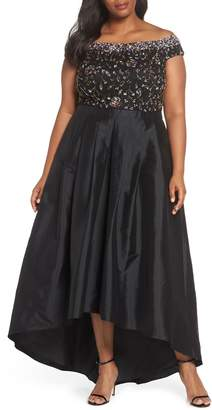 Adrianna Papell Embellished Off the Shoulder High/Low Gown
