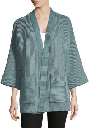 Jones New York Long Sleeve Chunky Rib-Knit Cardigan