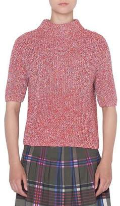 Akris Punto Mock-Neck Chunky-Knit Short-Sleeve Pullover Sweater