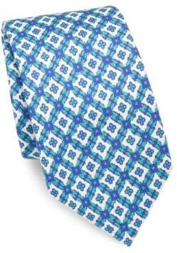 Isaia Medallion Patterned Silk Tie