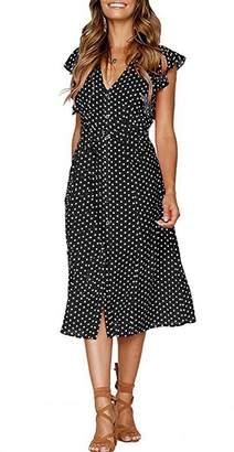 CLOUSPO Summer Dresses for Women Casual Button Polka Dot Sleeveless V Neck Swing Midi Dress (, L)