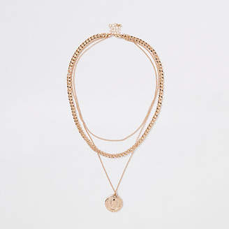 River Island Gold tone pendant and chain layered necklace