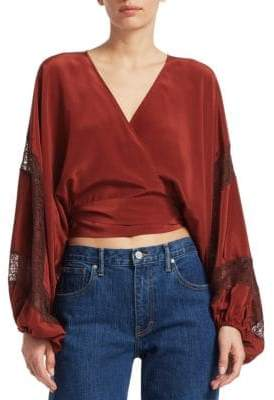 Elizabeth and James Talia Silk Wrap Blouse