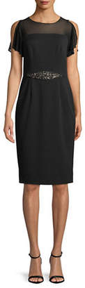 Adrianna Papell Short-Sleeve Illusion Sheath Dress