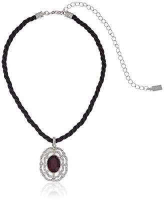 1928 Jewelry Black Rope Choker with Silver-tone and Stone Pendant Necklace