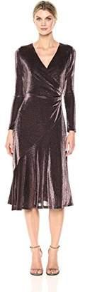 London Times Women's Long Sleeve V Neck Midi Sheath Dress