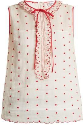 RED Valentino Polka-dot and ruffle-embellished sleeveless top