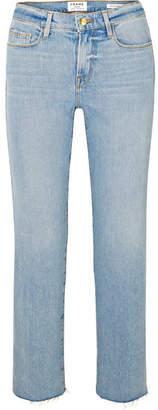 Frame Le Nouveau Cropped Mid-rise Straight-leg Jeans - Light denim
