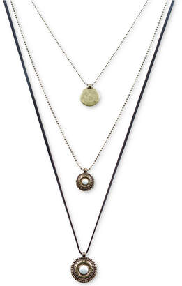 "Lucky Brand Gold-Tone Imitation Pearl Disc Triple-Layer 16""/22-3/4""/29"" Pendant Necklace"