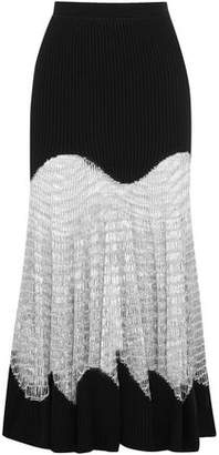 Alexander McQueen Metallic Open Knit-Paneled Ribbed Wool And Cashmere-Blend Maxi Skirt