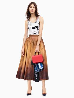 Calvin Klein distressed leather flared skirt