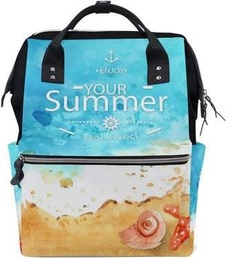 ALIREA Watercolor Summer Seaside Conch And Starfish Diaper Bag Backpack, Large Capacity Muti-Function Travel Backpack