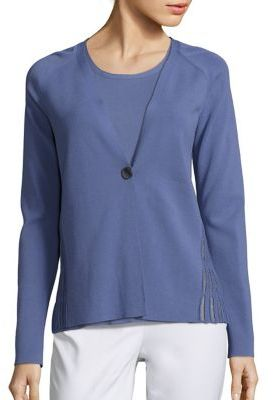 Lafayette 148 New York Matte Crepe Mesh Stitch Cardigan $498 thestylecure.com