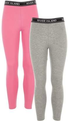 River Island Girls Grey and pink RI leggings pack