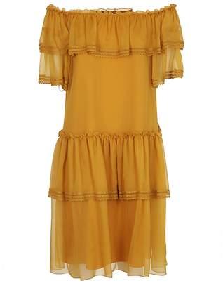Alberta Ferretti Frilled Off Shoulder Dress