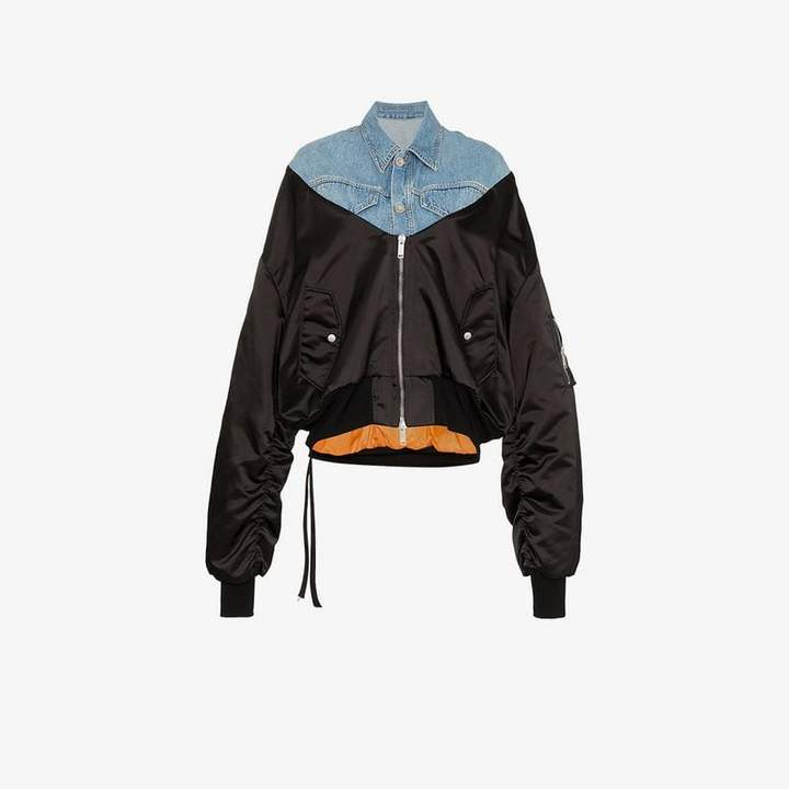 Unravel Project denim panelled bomber jacket